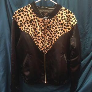 Valfre leopard satin bomber jacket